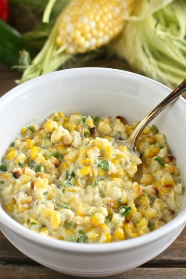 Jalapeno Creamed Corn is a flavorful side dish for all of your summer barbecues! Recipe from The HopelessHousewife