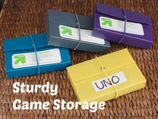 Sturdy Game Storage | Yankeehomestead.com -- Use index card boxes to store card games!