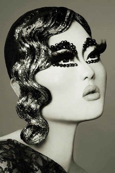 week2- drag makeup images- This head piece almost looks like it was hand sculpted.