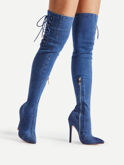ccd0125626c7 Faux Fur Point Toe Over The Knee Boots. Lace Up Side Pointed Toe Denim ...