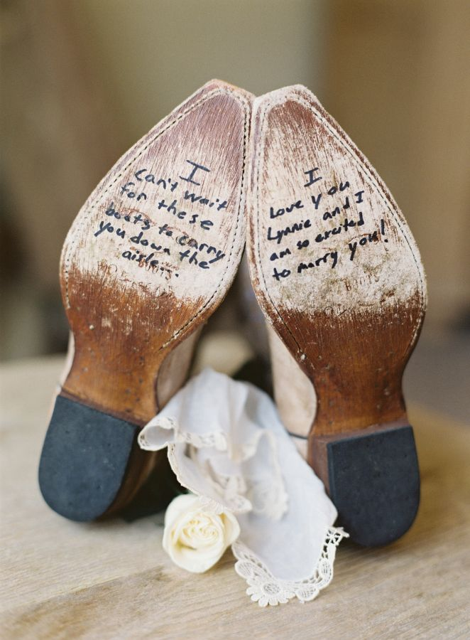 Cowboy boots for the bride with a sweet note from the groom: http://www.stylemepretty.com/2015/12/07/elegant-vail-mountain-wedding/   Photography: Brett Heidebrecht - http://brettheidebrecht.com/