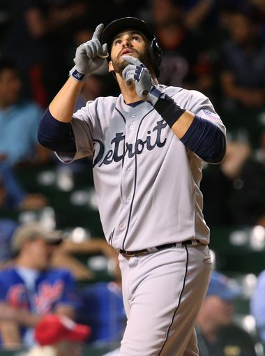 Detroit Tigers right fielder J.D. Martinez reacts after
