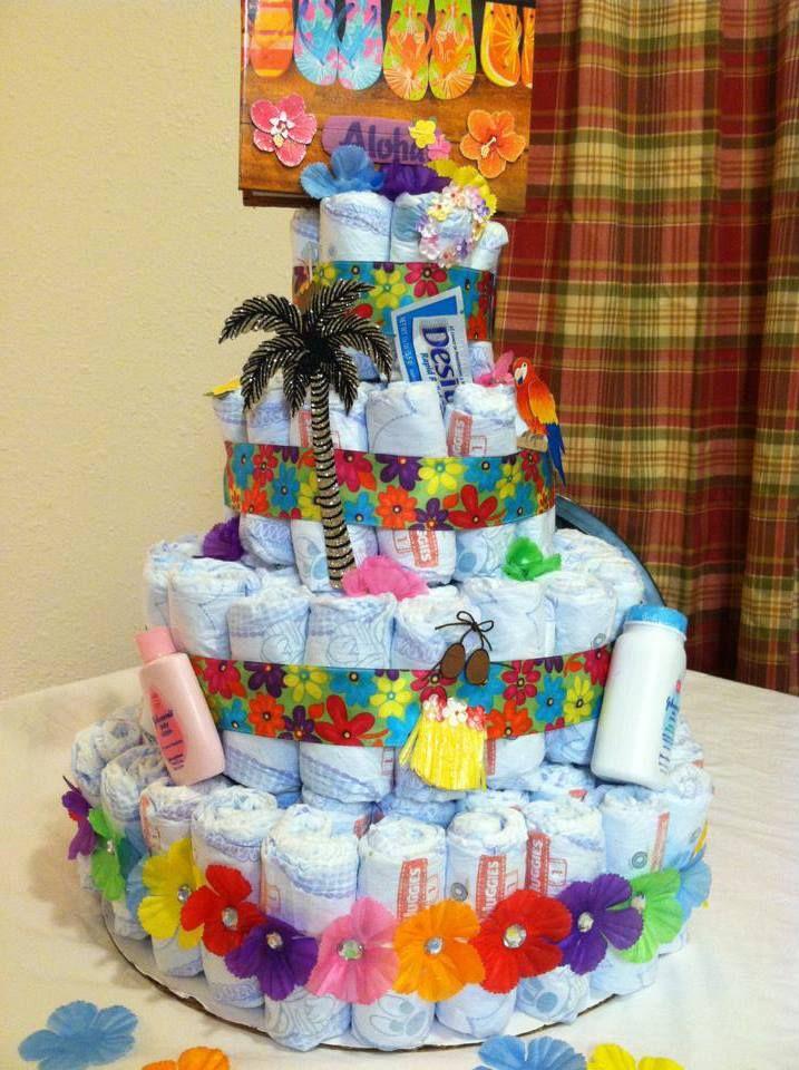 Hawaiian Themed Diaper Cake I Made Tonight.