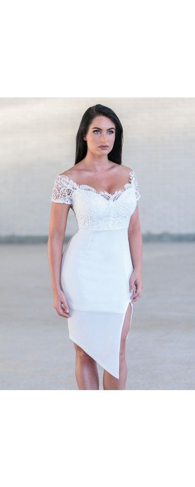 Lily Boutique Over the Top Crochet Pencil Dress in White, $56 Cute White Lace Pencil Dress Online, White Rehearsal Dinner Dress, White Cocktail Dress www.lilyboutique.com