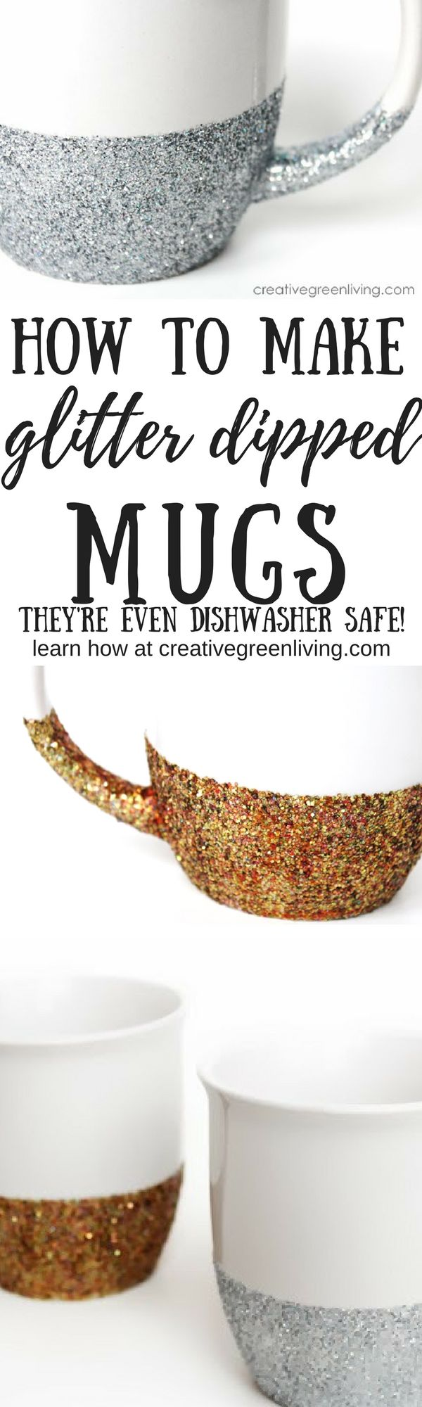 How to make dishwasher safe glitter dipped mugs. These are so pretty and easy to make. It's the perfect mug craft to get some sparkle! #coffeecups