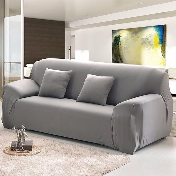 Fashion 17 Solid Color Slipcovers Home Living Sofa Cover Pillowcase 1 2 3 4 Seats L Shape Recliner Protector Couch Cushion Spandex Stretch Elastic Soft Furnit Leather Sofa Covers Leather Couch Covers Couch Covers