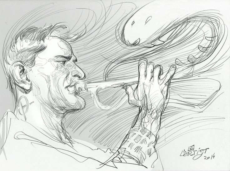 """First drawing, 15th of September 2014.  """"The Trumpet Genie""""   #portrait #drawing #sketch #artist #Lartist"""