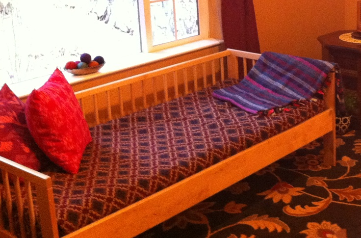 """Haven't stained and stencilled it yet, but this is an IKEA children's bed I'm in the process of transforming into a Moroccan window settee.  IKEA """"Gulliver"""". Solid birch. $149.00"""