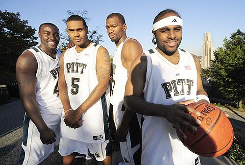 pitt panthers basketball | Pitt veterans, from left, DeJuan Blair, Tyrell Biggs, Sam Young and ...