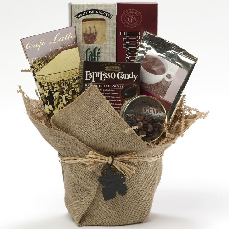 We blend the most popular of coffee flavored goodies into a beautiful gift that just happens to fit any gift giving occasion and budget.Your java loving junkie is sure get a kick out of this clever arrangement presented in a woven coffee basket that looks like a coffee sack.