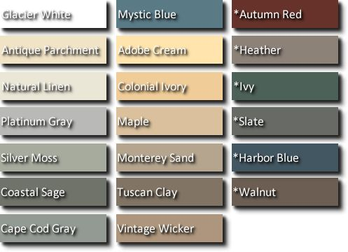 Vinyl siding colors.  Why can't I find warm colors that aren't a gradient of Yellow.  Mystic Blue I guess...