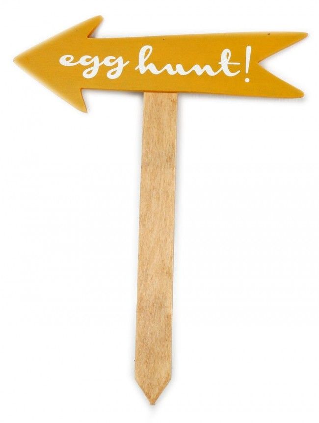 Easter Egg Garden Party Treasure Hunt Wooden Pointer Sign - 26Cm X 34Cm Arrow With Stake - Yellow