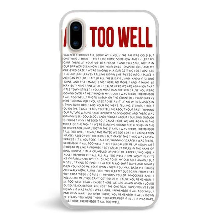brand new 44d31 b21e4 All To Well Lyric Taylor Swift,iPhone X Case,Custom iPhone X Case ...