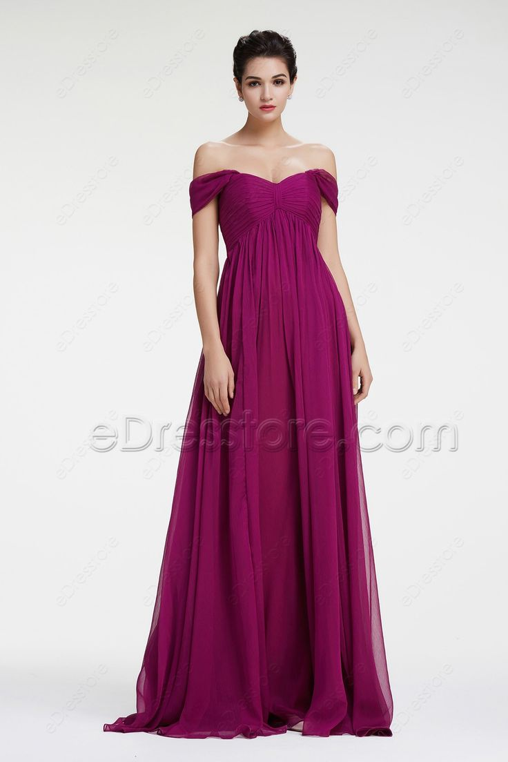 The magenta bridesmaid dress features sweetheart neckline with off the shoulder, pleated empire waist is maternity friendly, A Line skirt with floor length.