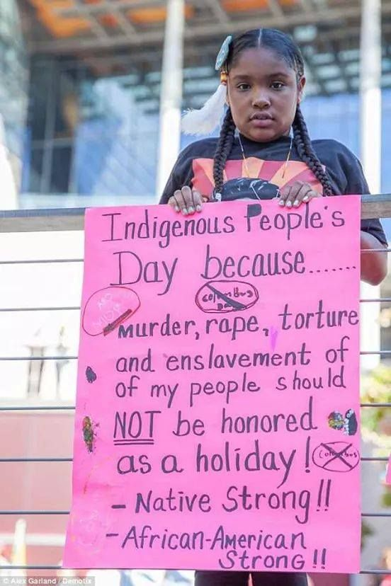 Indigenous People's Day because...murder, rape, torture and enslavement of my people should NOT be honored as a holiday! Native Strong!! African-American Strong!! The Seattle City Council recently voted unanimously to replace Columbus Day with Indigenous Peoples' Day in the city Photo credit: Alex Garland / Demotix — in Seattle, Washington.