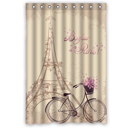 Fashion Custom Paris Eiffel Tower And Flower Bicycle Waterproof Polyester Fabric  Shower Curtain 48 X 72