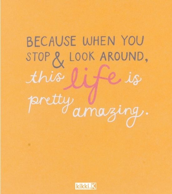 When you stop and look around, this life is pretty amazing.  #Happiness #Quotes