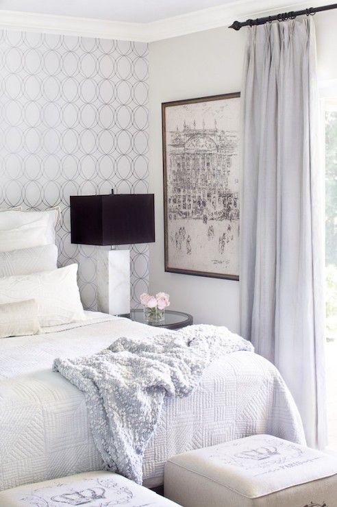 Krista Watterworth Design Studio - bedrooms - Darcy Wallpaper, french linen ottoman, french cube ottoman, cube ottoman, white linens <3