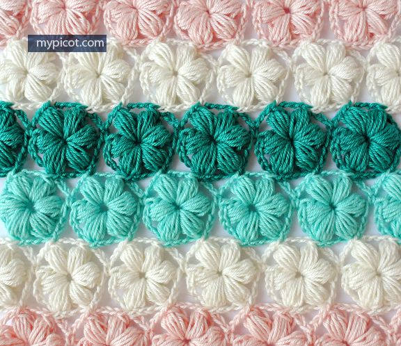 Crochet Flower Puff Stitch Tutorial - (mypicot) Crochet Pinterest ...