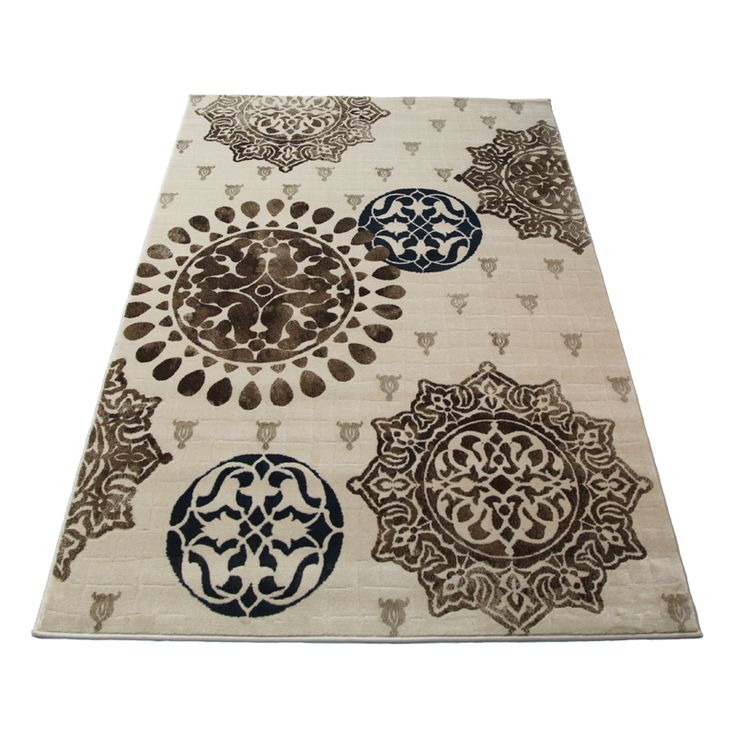 The Estate Collection 150 x 230cm Emblem Cream Heat Set Polypropylene Modena Rug