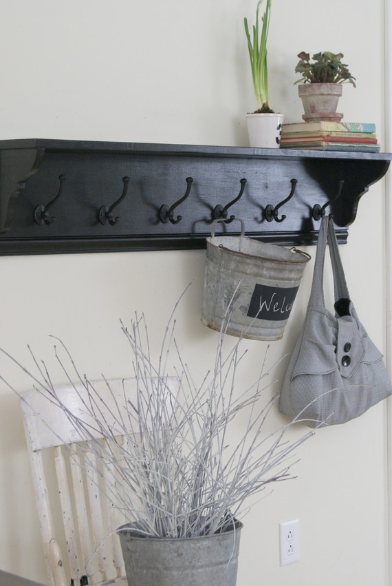 nice hooks with shelf above to put baskets