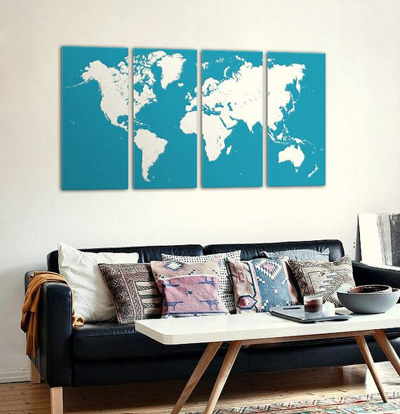 Colourful and modern world map on 4 panel canvas. Make a beautiful and unique interior element for your home. Choose the colors of your world :).