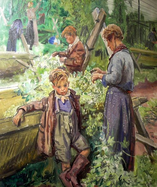 Hop Pickers:  Laura Knight (1877 – 1970, English)
