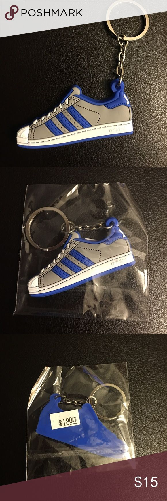 😎 Adidas Shell Toe Keychain Mini silicone Adidas Superstar Shell-tops. Color: Grey, blue, and white. Super cool looking,  New in package! Accessories Key & Card Holders