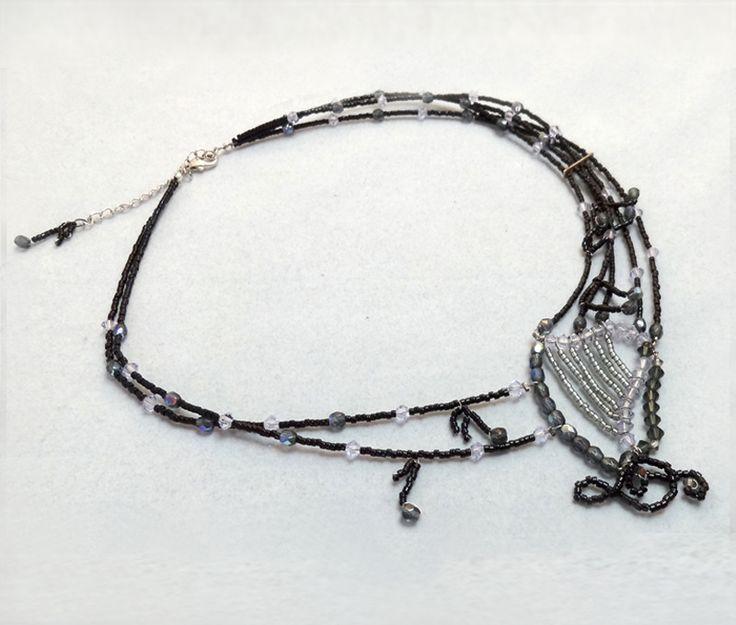 """Collier en perles Miyuki et Swarowski """"La harpe celtique"""" : Collier par marie-lumiere"""