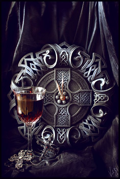 Wine and Celtic cross.