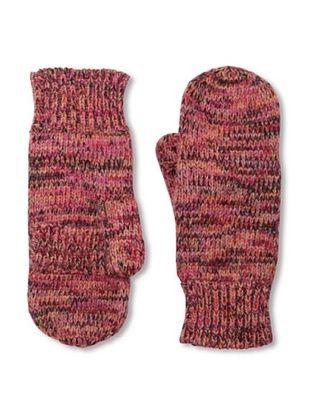 Carolina Amato Women's Melange Knit Poptop Mittens (Fuchsia)