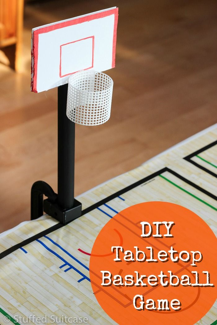 Lots of family fun and great for a basketball party! Make this DIY Tabletop Basketball Game for playing while watching the upcoming March Madness bracket games! StuffedSuitcase.com
