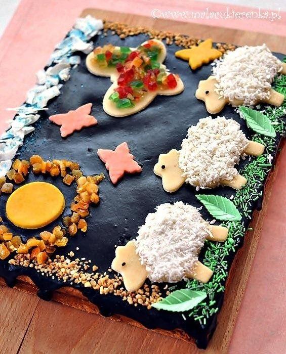 Mazurek nutty with kajmakiem #cake #recipe #cooking #chocolate #beautiful #easter #small confectionery #lamb #mazurka