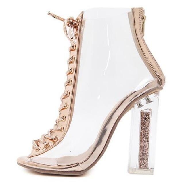 ECTIC 2018 New Hot Roman Women Pumps Cross tied High Heels Shoes Summer PVC  Transparent crystal Square Sandals Boots Woman PB-17 f891ff2fdd1b