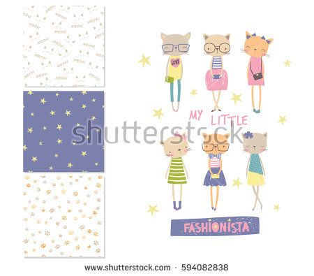My little fashionista. Cartoon surface design and 3 seamless patterns. Vector illustration can use for print design, surface design, fashion kids wear