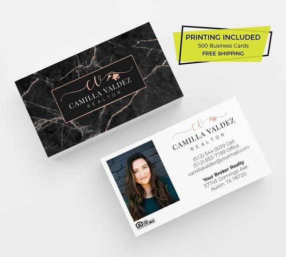 Black Marble Rose Gold Realtor Business Card 500 Printed Etsy In 2021 Realtor Business Cards Real Estate Business Cards Printing Business Cards