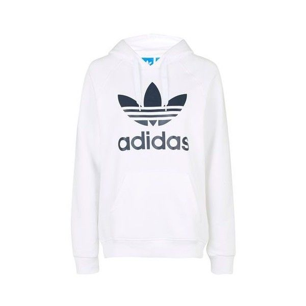 Original Three Foil Hoodie by Adidas Originals ($75) ❤ liked on Polyvore featuring tops, hoodies, white, topshop, white top, topshop tops, white hoodie and hooded sweatshirt