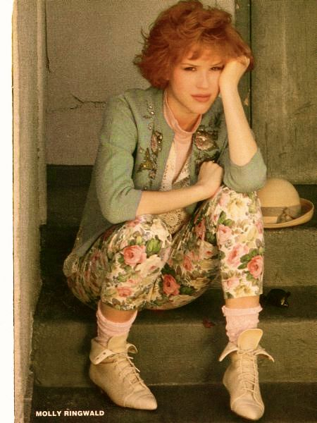 80s fashion - Molly Ringwald. floral pants & ankle boots, yep had