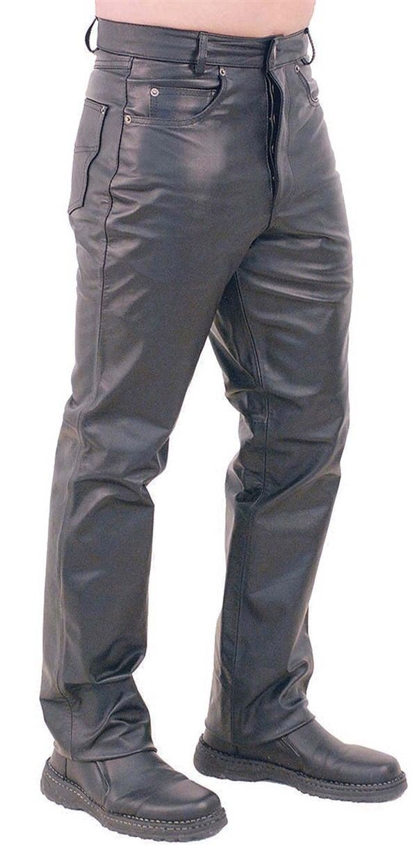 1eca013327 Button Fly Leather Pants for Men #MP1140BT | The Leather Factory ...