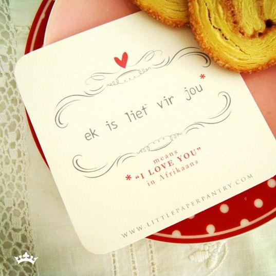 """""""I Love You"""" in Afrikaans. Repinned from BYC Weddings & Events"""