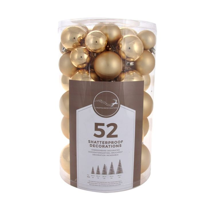 Shatterproof Christmas baubles gold 52 pieces