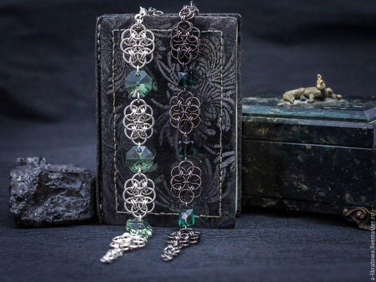 Купить Парные браслеты - зеленый, черно-зеленый, двухцветный, кольчужное плетение, кольчужные украшения