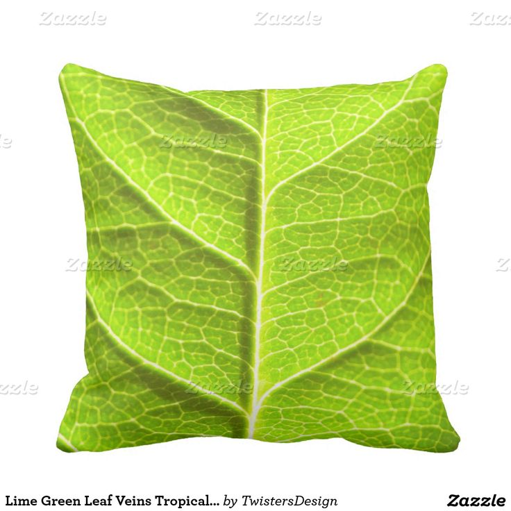 Lime Green Leaf Veins Tropical Print Texture Throw Pillow. Stunning bright lime green cushion printed with a tropical green leaf pattern