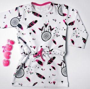 Urocza sukienka/tunika wzór różowe łapacze snów. W pasie sznureczek. Świetny krój ! Rozmiary