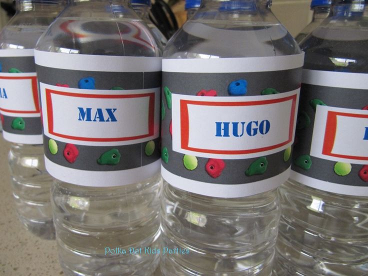 Water bottle name labels-Rock Climbing Party