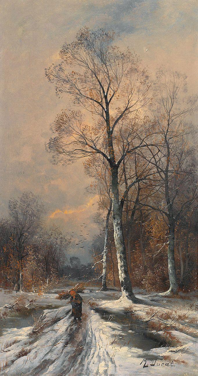 R. Ducat - Holz Leserin in Winterlandschaft, oil on canvas