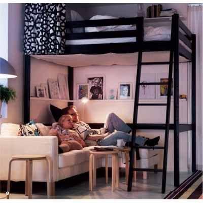 cama alta loft puente de hierro ideal espacios pequeos