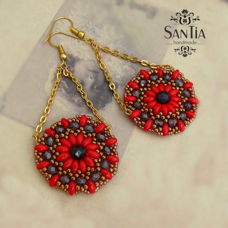 Kruhové náušnice červeno-zlaté mandaly :http://santiahandmade.com/produkt/kruhove-nausnice-cerveno-zlate-mandaly/
