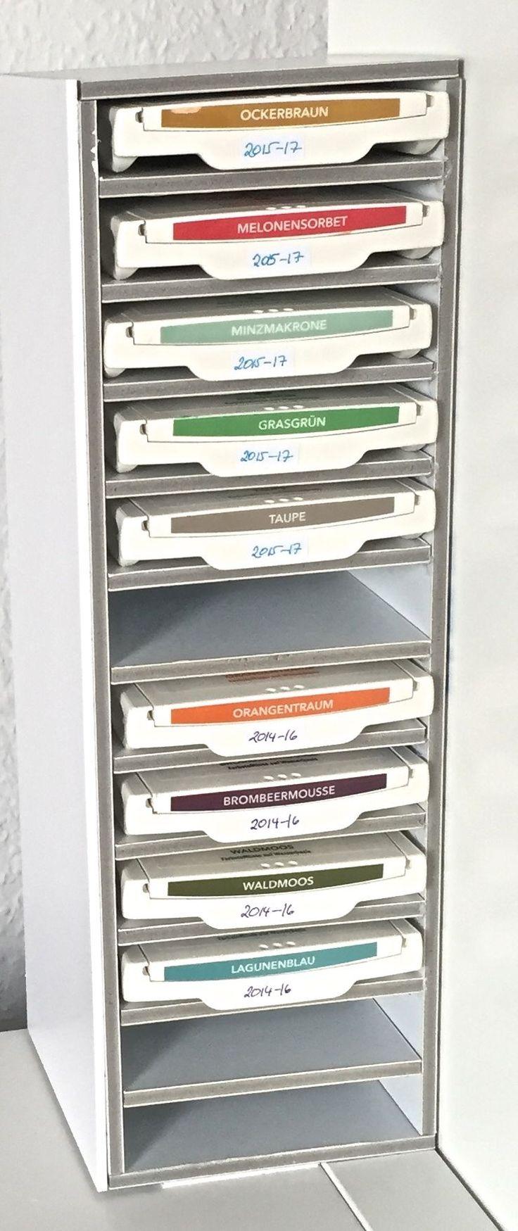Mini-Regal für Stempelkissen von Stampin Up! aus Foamboard, passend für Ikea Kallax Regal. Storage for Stampin Up! ink pads for an Ikea Kallax unit.
