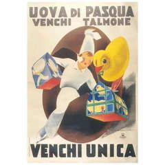 """Italian Venchi Chocolate """"Easter Egg"""" Poster by Dudovich, c. 1930s"""